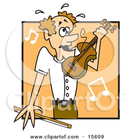 Man Breaking A String While Playing A Violin Clipart Illustration by Andy Nortnik