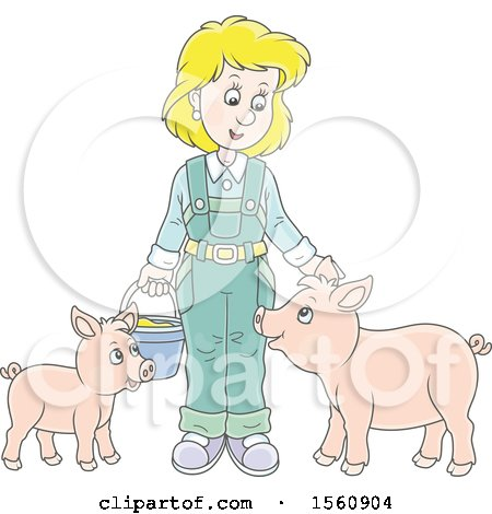 Clipart of a Blond White Female Farmer Tending to Her Pigs - Royalty Free Vector Illustration by Alex Bannykh