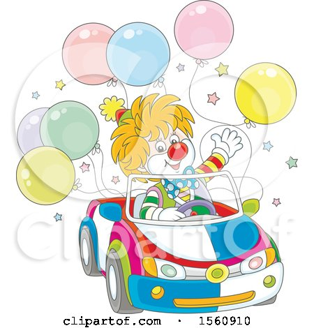 Clipart of a Cute Clown Driving a Car with Balloons - Royalty Free Vector Illustration by Alex Bannykh
