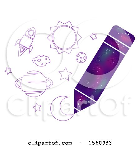 Clipart of a Drawing Pencil with a Galaxy Pattern - Royalty Free Vector Illustration by BNP Design Studio