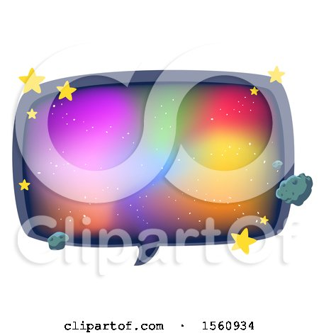 Clipart of a Galaxy Speech Bubble with Stars - Royalty Free Vector Illustration by BNP Design Studio