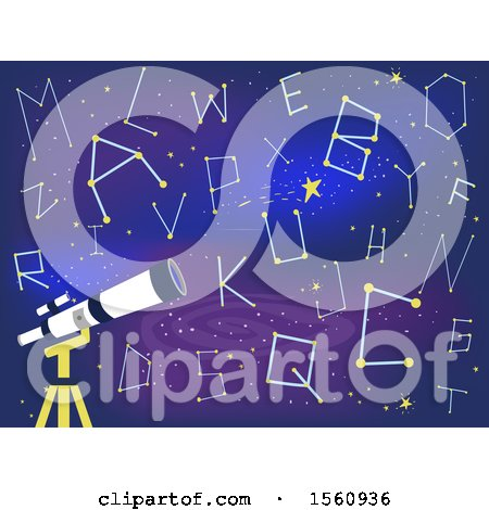 Clipart of a Telescope with Alphabet Star Constellations - Royalty Free Vector Illustration by BNP Design Studio