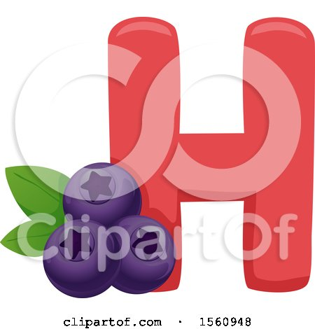 Clipart of a Letter H and Huckleberries - Royalty Free Vector Illustration by BNP Design Studio