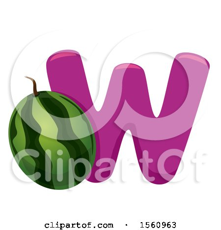 Clipart of a Letter W and Watermelon - Royalty Free Vector Illustration by BNP Design Studio