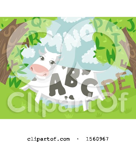 Clipart of a Cow with Letters - Royalty Free Vector Illustration by BNP Design Studio