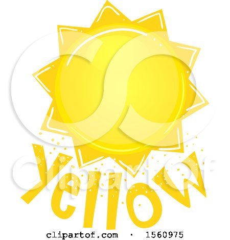 Clipart of a Sun over the Word Yellow - Royalty Free Vector Illustration by BNP Design Studio