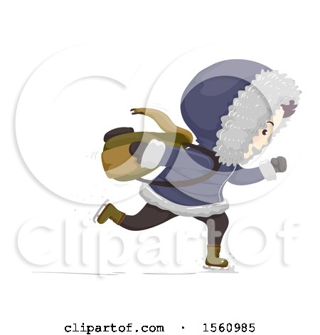 Clipart of a Male Student Ice Skating to School - Royalty Free Vector Illustration by BNP Design Studio
