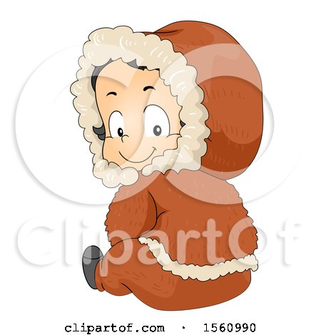 Clipart of a Happy Eskimo Boy Toddler Sitting and Looking Back - Royalty Free Vector Illustration by BNP Design Studio