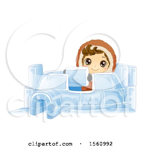 Clipart of a Happy Eskimo Boy Building an Igloo - Royalty Free Vector Illustration by BNP Design Studio