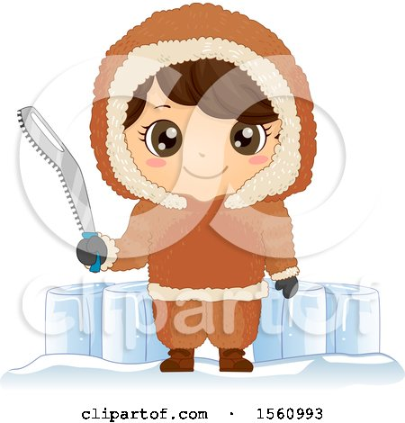 Clipart of a Happy Eskimo Boy Holding a Snow Saw by Blocks of Ice - Royalty Free Vector Illustration by BNP Design Studio