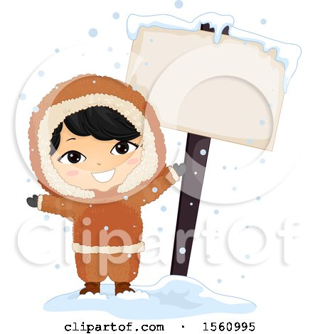 Clipart of a Happy Eskimo Boy by a Blank Sign - Royalty Free Vector Illustration by BNP Design Studio