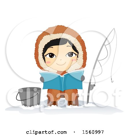 Clipart of a Happy Eskimo Boy Reading and Ice Fishing - Royalty Free Vector Illustration by BNP Design Studio