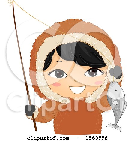Clipart of a Happy Eskimo Boy Holding a Pole and Fish - Royalty Free Vector Illustration by BNP Design Studio