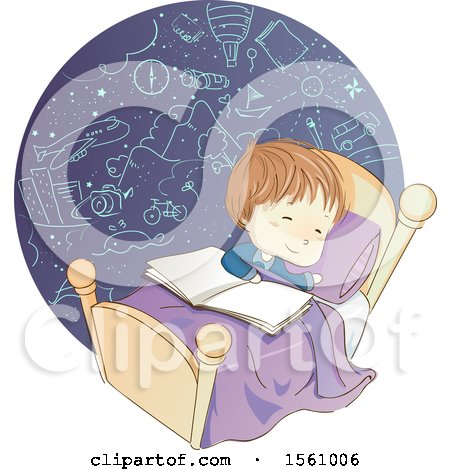 Clipart of a Sketched Boy Dreaming with a Book on His Bed - Royalty Free Vector Illustration by BNP Design Studio