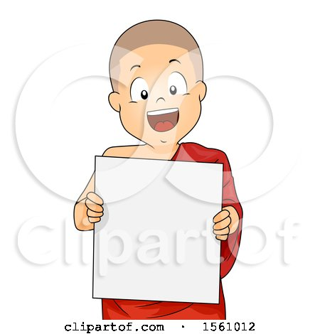 Clipart of a Monk Boy Holding a Blank Sign - Royalty Free Vector Illustration by BNP Design Studio