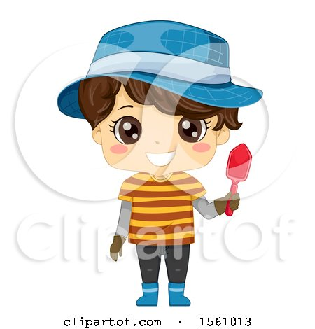 Clipart of a Brunette Boy Holding a Garden Shovel and Wearing a Hat - Royalty Free Vector Illustration by BNP Design Studio