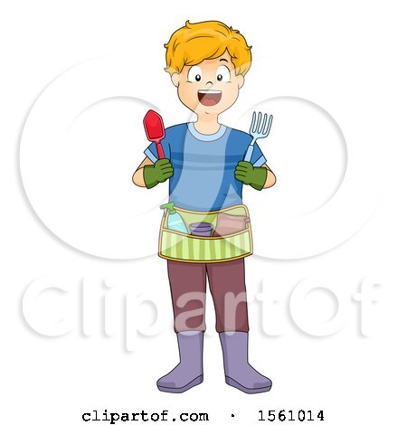 Clipart of a Boy with a Gardening Tool Belt - Royalty Free Vector Illustration by BNP Design Studio