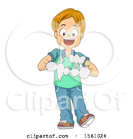 Clipart of a Boy Holding Paper Cutout Vegetables - Royalty Free Vector Illustration by BNP Design Studio