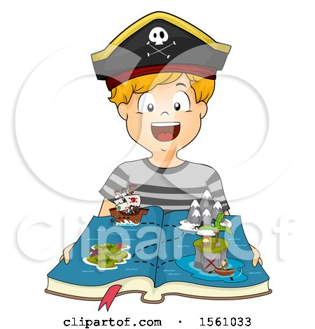 Clipart of a Pirate Boy with a Pop up Ship and Map Book - Royalty Free Vector Illustration by BNP Design Studio