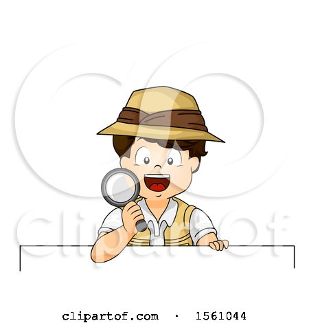 Clipart of a Boy Explorer Holding a Magnifying Glass over a Sign - Royalty Free Vector Illustration by BNP Design Studio