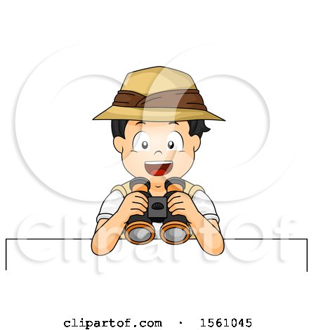 Clipart of a Boy Explorer Holding Binoculars over a Sign - Royalty Free Vector Illustration by BNP Design Studio
