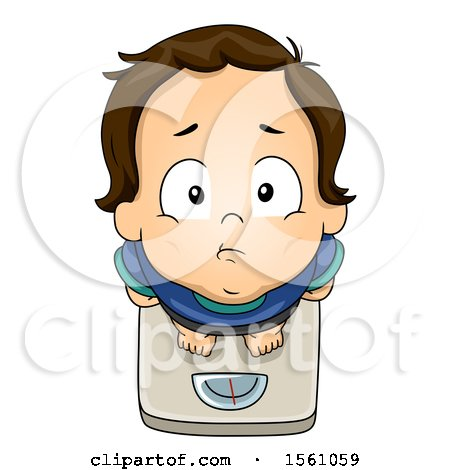 Clipart of a White Toddler Boy Standing on a Scale - Royalty Free Vector Illustration by BNP Design Studio