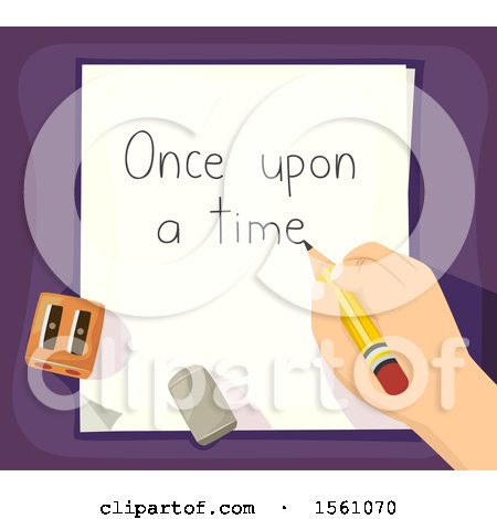 Clipart of a Hand Writing out Once upon a Time on a Piece of Paper - Royalty Free Vector Illustration by BNP Design Studio