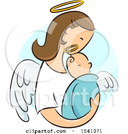 Clipart of a Female Angel Holding a Newborn Baby - Royalty Free Vector Illustration by BNP Design Studio