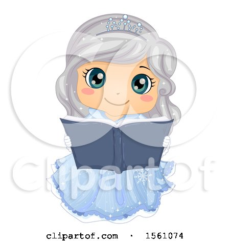 Clipart of a Silver Haired Ice Princess Reading a Fairy Tale Book - Royalty Free Vector Illustration by BNP Design Studio