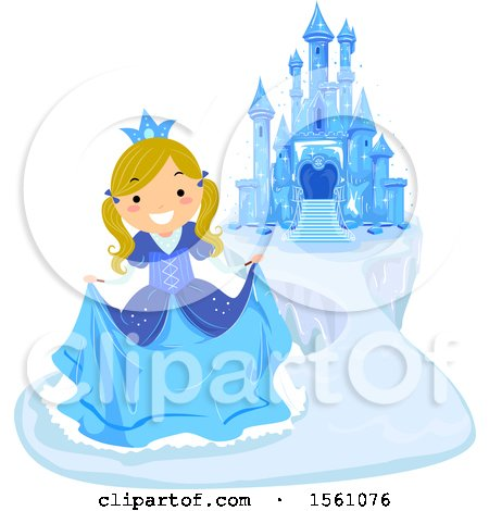 Clipart of a Blond Ice Princess Curtsying near a Frozen Castle - Royalty Free Vector Illustration by BNP Design Studio