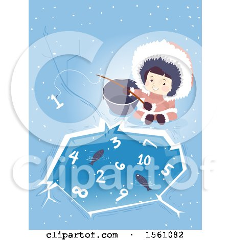 Clipart of a Happy Ice Age Girl by an Ice Pond with Fish and Numbers - Royalty Free Vector Illustration by BNP Design Studio