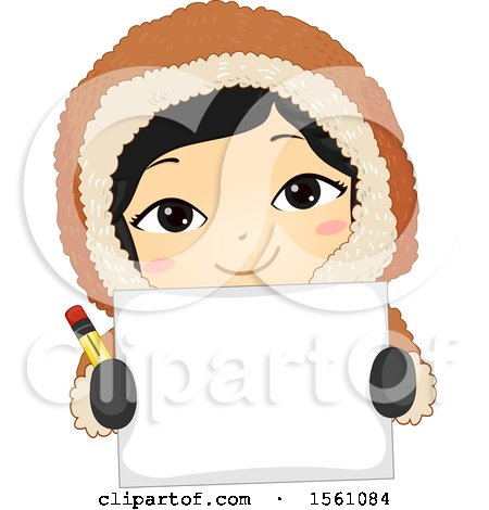 Clipart of a Happy Eskimo Girl Holding a Pencil and Blank Piece of Paper - Royalty Free Vector Illustration by BNP Design Studio