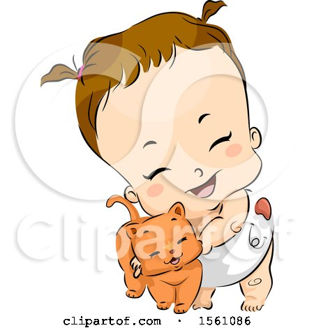 Clipart of a Brunette Toddler Girl in a Diaper, Cuddling with a Ginger Cat - Royalty Free Vector Illustration by BNP Design Studio