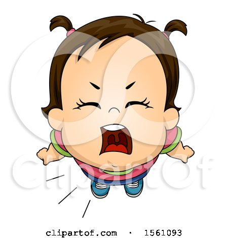 Clipart of a Brunette Toddler Girl Shouting - Royalty Free Vector Illustration by BNP Design Studio