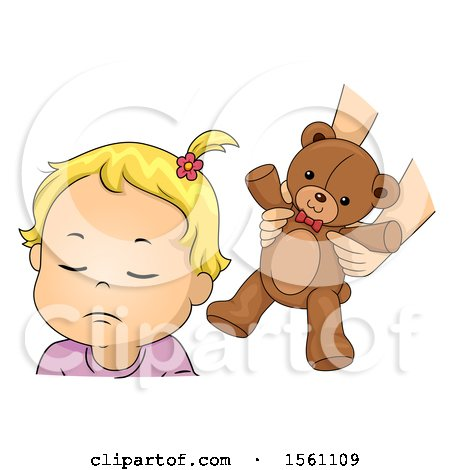 Clipart of a Toddler Girl Refusing a Teddy Bear - Royalty Free Vector Illustration by BNP Design Studio