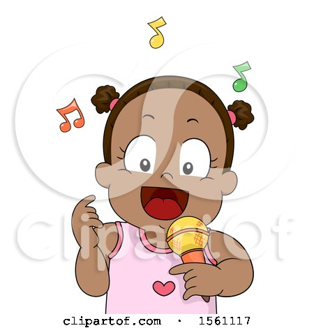Clipart of a Black Toddler Girl Singing - Royalty Free Vector Illustration by BNP Design Studio