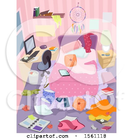 Clipart of a Messy Teenage Girls Bedroom - Royalty Free Vector Illustration by BNP Design Studio