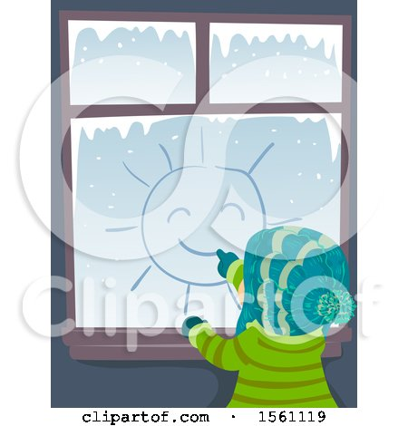 Clipart of a Rear View of a Child Drawing a Sun on a Window on a Winter Day - Royalty Free Vector Illustration by BNP Design Studio