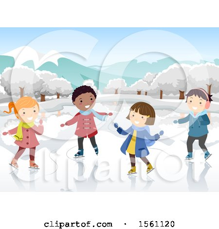 Clipart of a Group of Children Ice Skating - Royalty Free Vector Illustration by BNP Design Studio