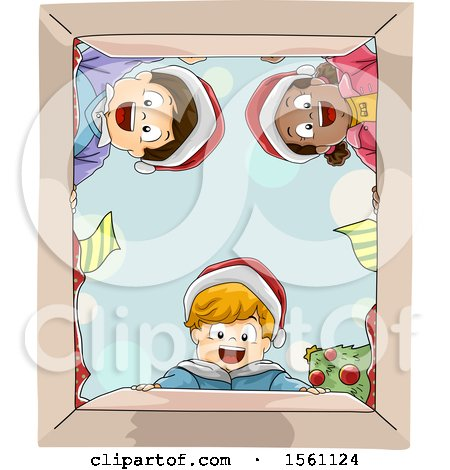 Clipart of a Happy Group of Children Wearing Santa Hats and Looking into a Christmas Gift Box - Royalty Free Vector Illustration by BNP Design Studio