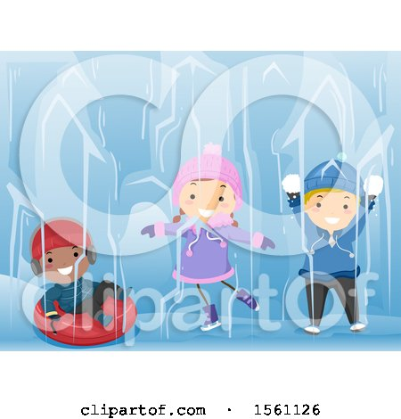Clipart of a Group of Children Holding Snowballs, Ice Skating, and Tubing - Royalty Free Vector Illustration by BNP Design Studio