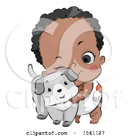 Clipart of a Cute Black Baby Cuddling with a Puppy Dog - Royalty Free Vector Illustration by BNP Design Studio