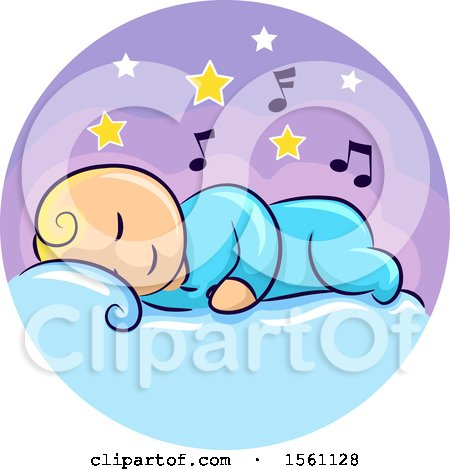 Clipart of a Sleeping Baby with Stars and Music Notes - Royalty Free Vector Illustration by BNP Design Studio