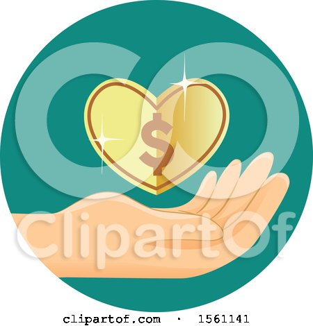 Clipart of a Hand with a Heart Dollar Coin - Royalty Free Vector Illustration by BNP Design Studio