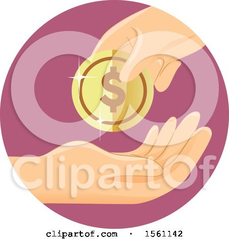 Clipart of a Hand with a Dollar Coin - Royalty Free Vector Illustration by BNP Design Studio