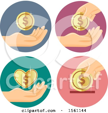 Clipart of Hands with Dollar Coins - Royalty Free Vector Illustration by BNP Design Studio