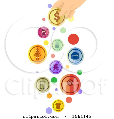 Clipart of a Hand Holding a Coin with Toy Gadget and Clothing Icons - Royalty Free Vector Illustration by BNP Design Studio