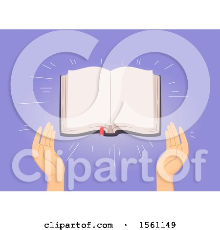 Clipart of Hands with an Open Blank Bible - Royalty Free Vector Illustration by BNP Design Studio