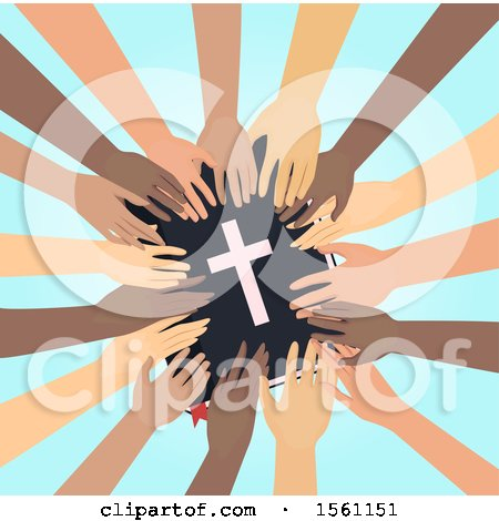 Clipart of a Circle of Hands Touching the Bible - Royalty Free Vector Illustration by BNP Design Studio