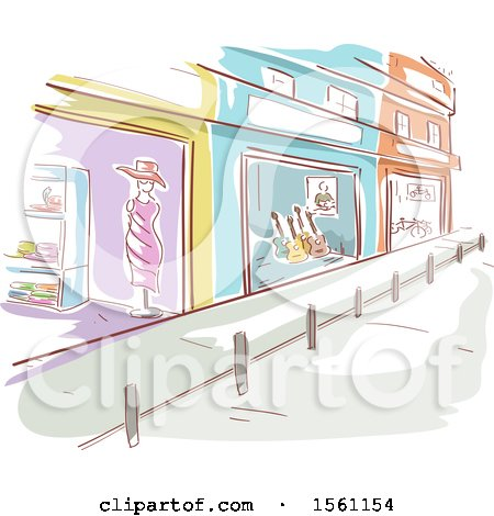 Clipart of a Sketched Street with Store Fronts - Royalty Free Vector Illustration by BNP Design Studio